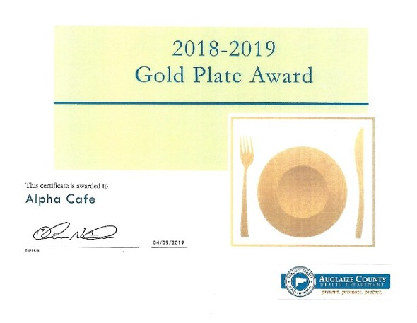 Gold Plate Award from Auglaize County Health Dept.